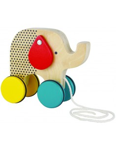 Petit Collage - Jumping Jumbo Elephant Wood Pull Toy